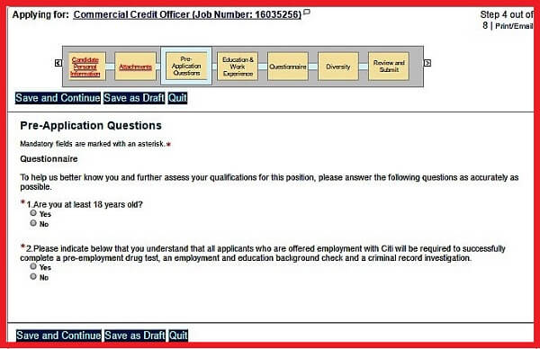The Pre-Application Questions section of the Citigroup Careers Application Form
