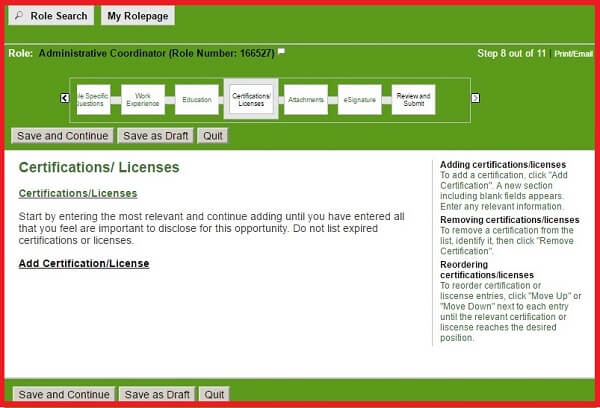 Screenshot of the Certifications and Licenses Section of the Humana Careers Form