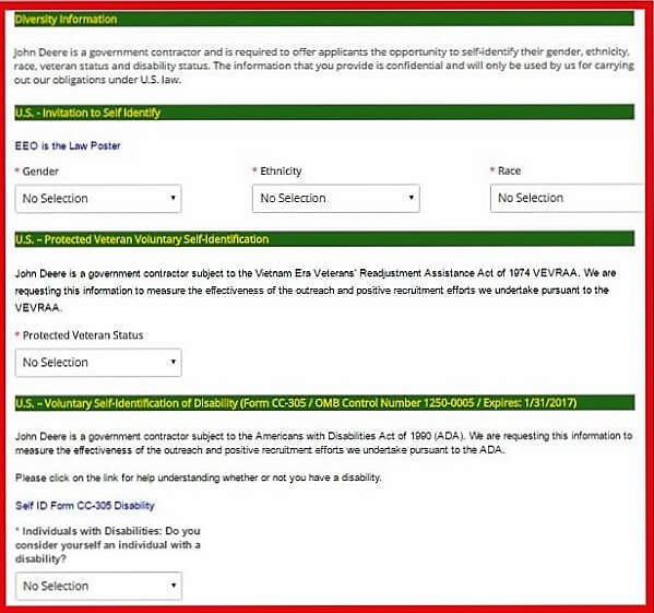Screenshot of the John Deere Careers Portal - Diversity Information