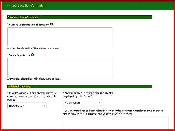 Screenshot of the John Deere Careers Portal - Job Specific Information