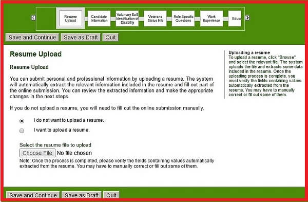 Screenshot of the Resume Upload section of the Humana careers form