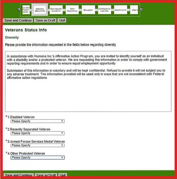 Screenshot of the Veteran Status Section of the Humana Careers Form