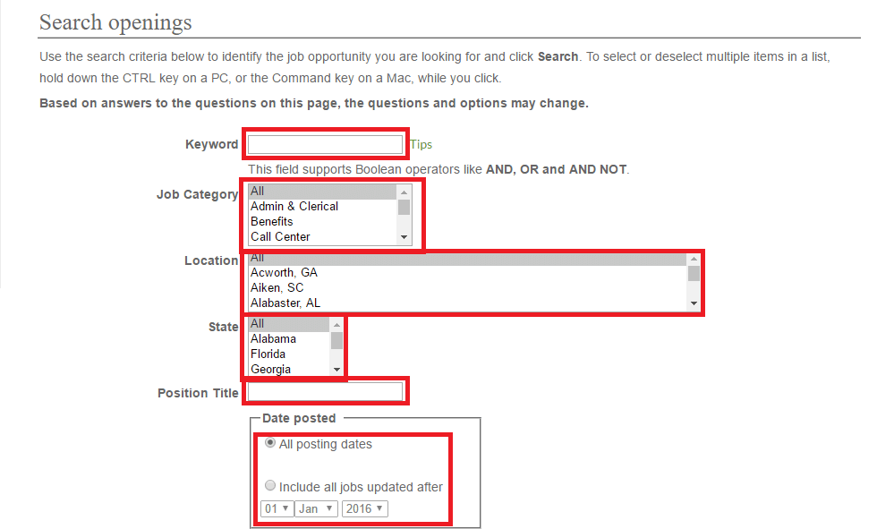 publix job application search criteria first step screenshot