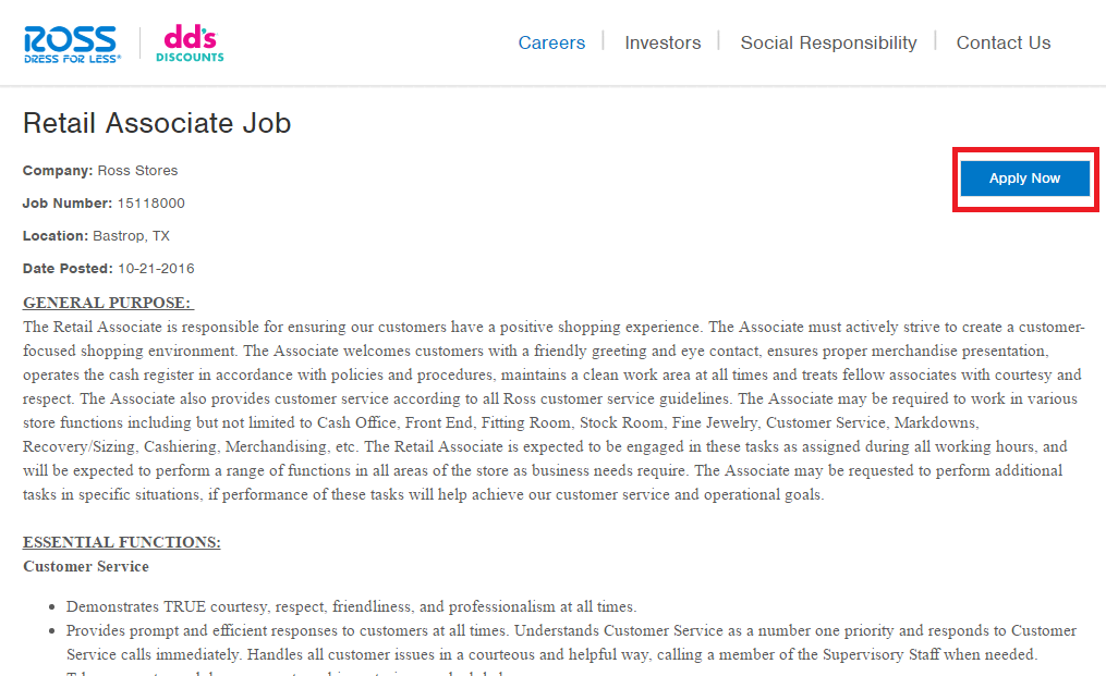 ross retail associate job description screenshot