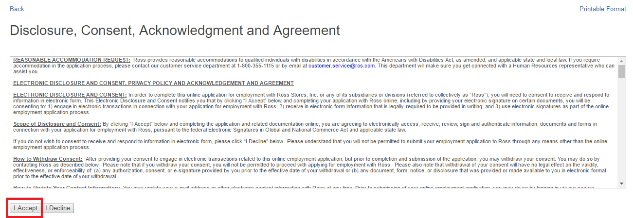 ross job application agreement screenshot