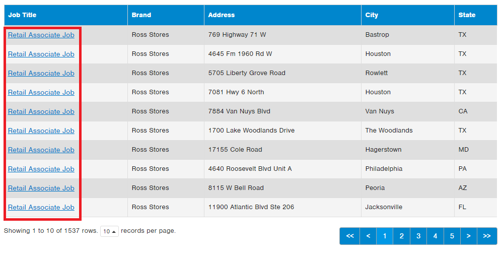 ross retail associate job openings screenshot