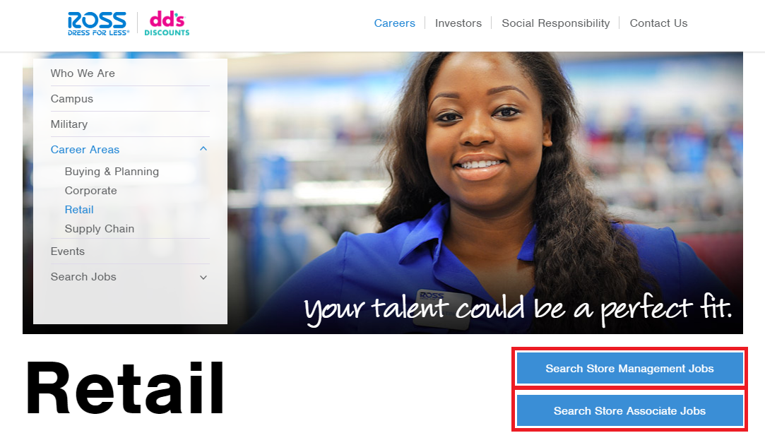 ross retail jobs page screenshot
