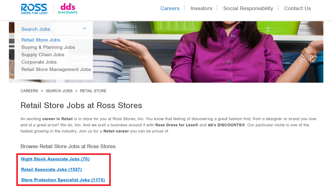 ross retail store jobs screenshot