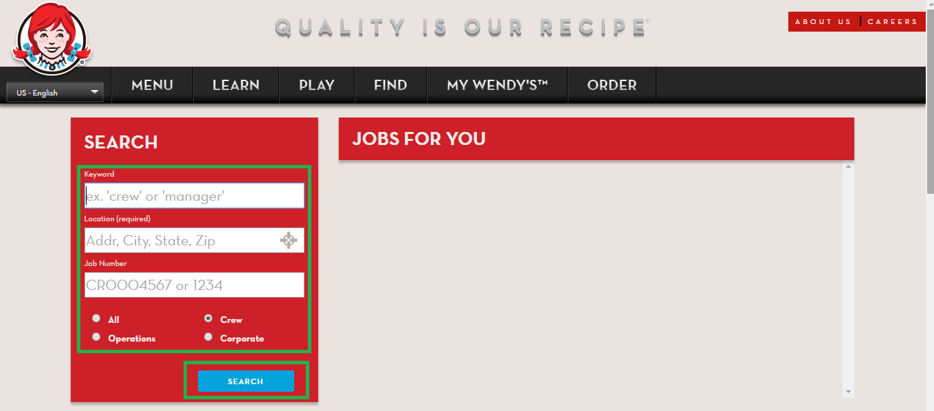 wendys job application career guide job application review wendys job search site screenshot