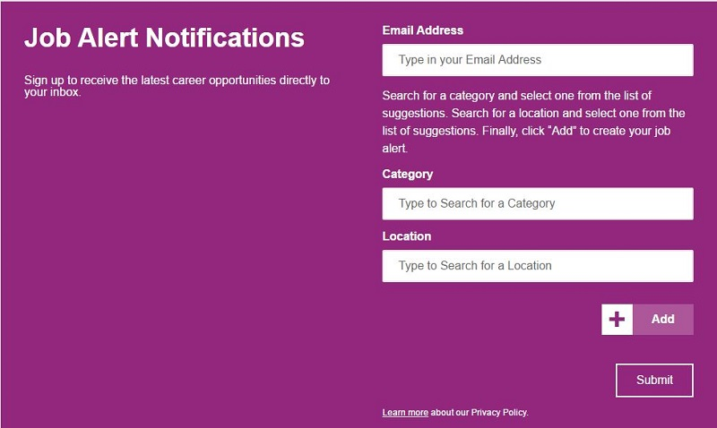 cvs form for subscribing to job alert notification