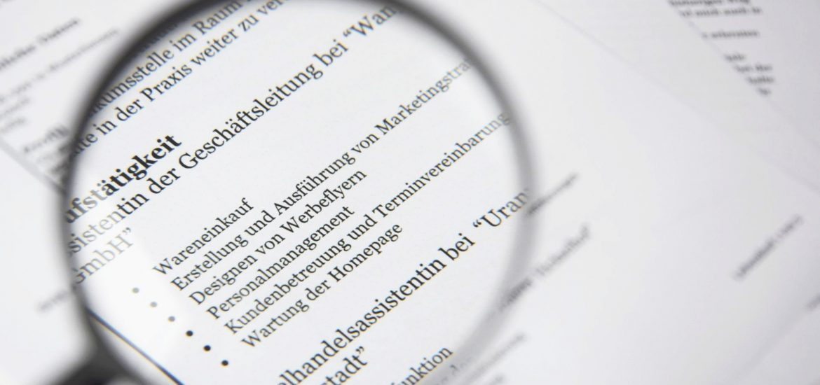 lens on an application paper
