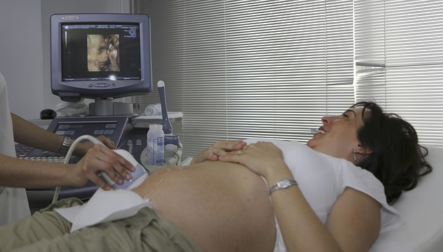 a medical sonographer operating ultrasound on a pregnant woman